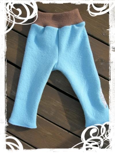 wool interlock pants .polarbear on blue.